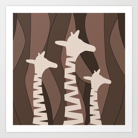 Abstract Giraffe Family Art Print