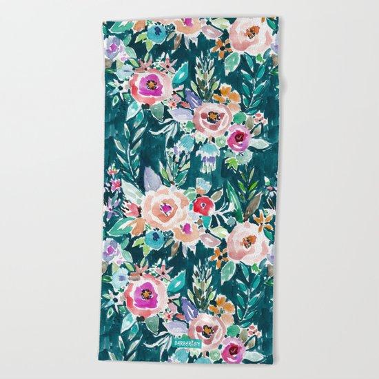 EFFUSIVE FLORAL Dark & Colorful Boho Pattern Beach Towel