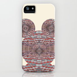 Perception: Checkered red and grey creature iPhone Case
