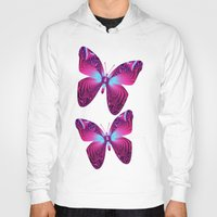 hot pink Hoodies featuring The hot pink Butterfly by thea walstra