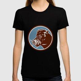 Wild Boar Razorback Head Side Circle Retro T-shirt