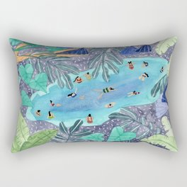 Midnight jungle pool Rectangular Pillow