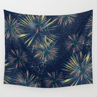 fireworks Wall Tapestries featuring Fireworks! by LLL Creations