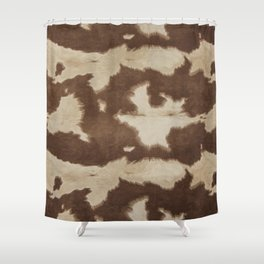 Brown and white cowhide 3 Shower Curtain