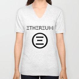 Ethereum Symbol (black on white) Unisex V-Neck