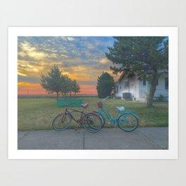 Bikes at Sunset Art Print