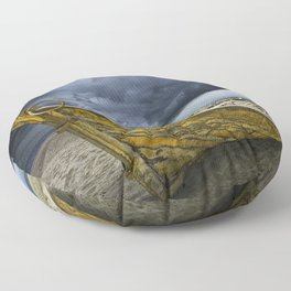 Beached Boat with Storm Brewing Floor Pillow