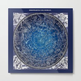 Vintage Celestial Constellations 17th Cenurty Star Map - Star Chart of the Constellations Metal Print