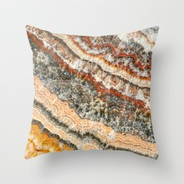 Agate Crystal III // Red Gray Black Yellow Orange Marbled Diamond Luxury Gemstone Throw Pillow