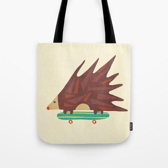 Hedgehog in hair raising speed Tote Bag