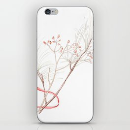 Winter Branches (white pine and rose hips) in Watercolor iPhone Skin