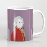 mozart Mugs featuring Mozart (Mauve Background) by Brando