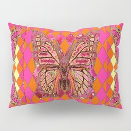 ABSTRACT MONARCH BUTTERFLY IN PINK-YELLOW Pillow Sham