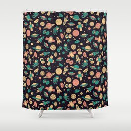 Retro Space Pattern Shower Curtain