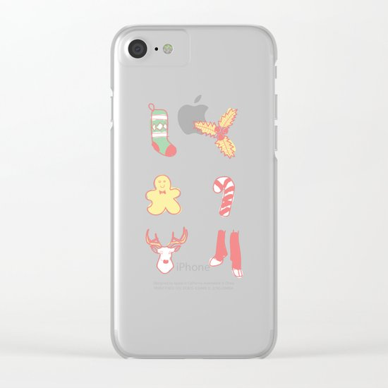 Pastel Bright Christmas Clear iPhone Case