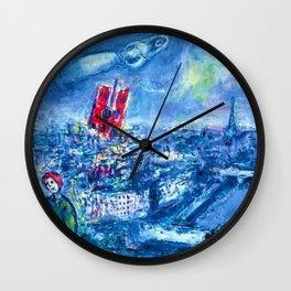 View of Paris by Marc Chagall Wall Clock
