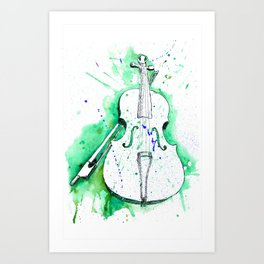 Water Color Violin (Teal) Art Print