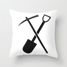 shovel and pickaxe Throw Pillow
