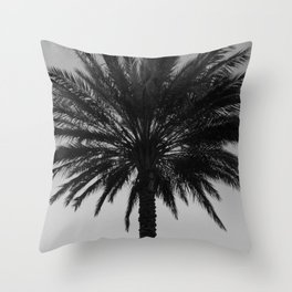 Big Black and White Palm Tree Throw Pillow