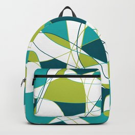 Modern Abstract Retro Green and Teal Art Backpack