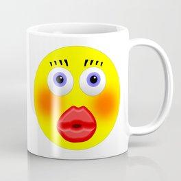 Smiley Embarrassed Kissing Girl Coffee Mug