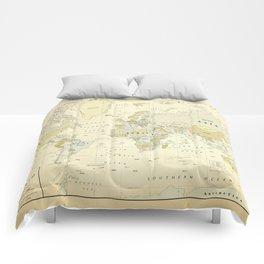 Vintage World Map Print Comforters