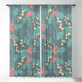 Christmas green decor Happy Holly Berry Sheer Curtain