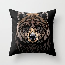 Tribal Frontal bear Throw Pillow
