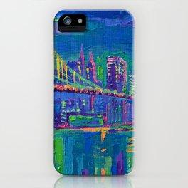 New York City Night Lights - palette knife painting urban Brooklyn bridge skyline iPhone Case