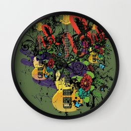 Grunge Guitar Illustration Wall Clock