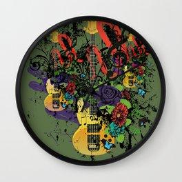 Grunge Guitar Illustration Wall Clock