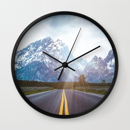 Mountain Road - Grand Tetons Nature Landscape Photography Wall Clock