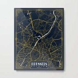 Brussels City Map of Belgium - Gold Art Deco Metal Print