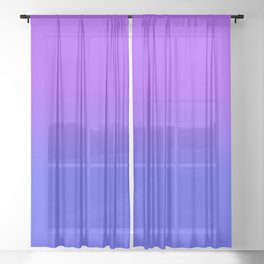 Neon Blue and Bright Neon Purpel Ombré Shade Color Fade Sheer Curtain