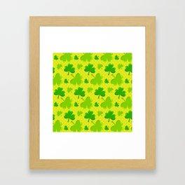 St. Patrick's Day Lucky Green Shamrocks Pattern Framed Art Print