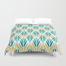 Mid Century Modern Abstract Floral Pattern in Turquoise Teal Aqua and Marigold Duvet Cover