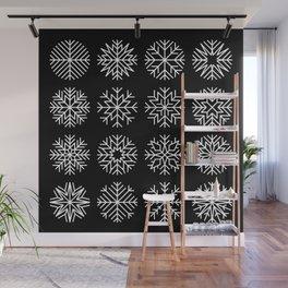 minimalist snow flakes on black Wall Mural