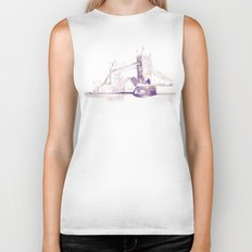 Watercolor landscape illustration_London Bridge Biker Tank