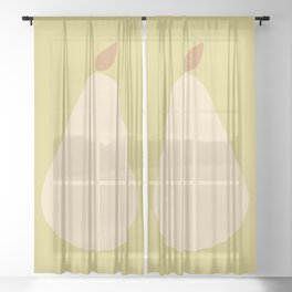 Minimal Pear Fruit - Green Sheer Curtain