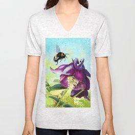 Bee flying 14 Unisex V-Neck