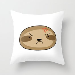Angry Sloth Face Throw Pillow