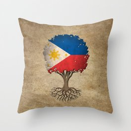 Vintage Tree of Life with Flag of Philippines Throw Pillow