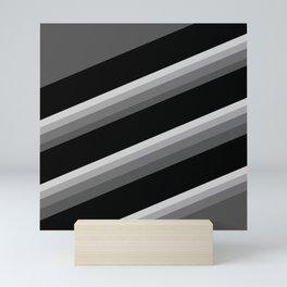 Simple black and white striped pattern . Oblique stripes . Mini Art Print