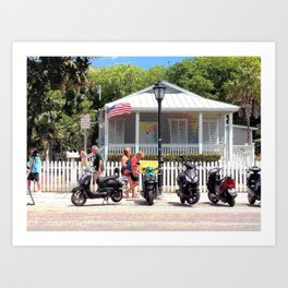 Motor Bikes and Picket Fence Art Print