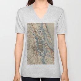 Vintage Map of St. Augustine Florida (1937) Unisex V-Neck