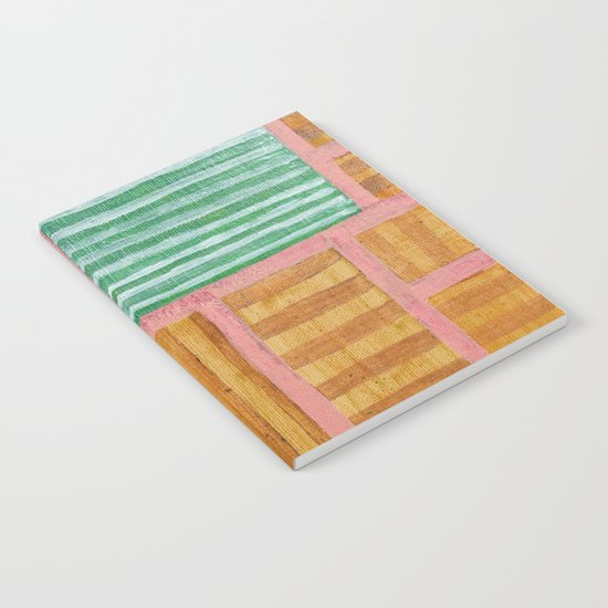 Beautiful Stripes Pattern within a Pink Grid Notebook