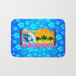 Hawaiian Surfing And Honu Pattern Bath Mat
