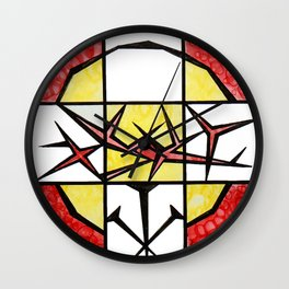 Abstract, square, qubism, red, Crucifixion, crown of thorns, Jesus, Christ Wall Clock