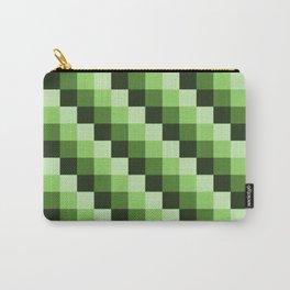 Green Monochrome Mosaic Pixl Checks Pattern Carry-All Pouch