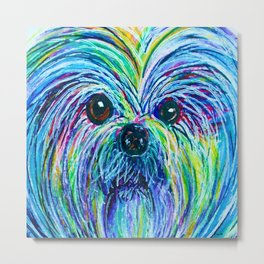 Shih Tzu Intense Colors Metal Print